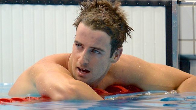 James Magnussen reacts after placing second in the men's 100m freestyle final. Picture: AAP