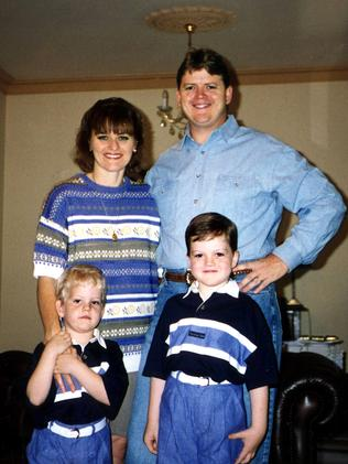 A family photo of Adelaide NCA bombing victim Detective Sergeant Geoffrey Bowen with wife Jane and sons Matthew and Simon.