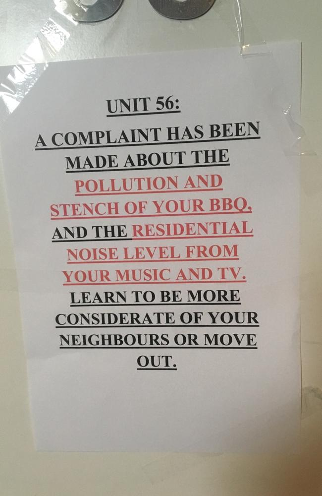 The unsigned note, left on the apartment door. Note the creative use of all caps-lock, underlining and angry red to get the point across. Picture: Supplied