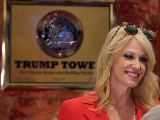 Kellyanne Conway took to Twitter on Monday night to throw cold water on the rumours that there is a feud brewing between her and Donald Trump. Picture: AFP.