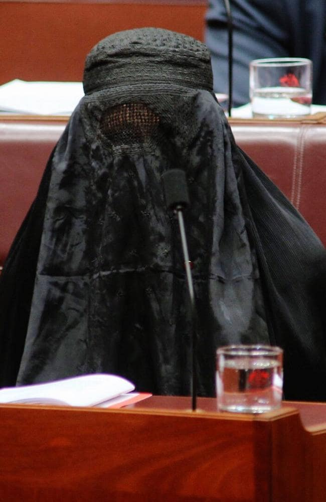 Senator Pauline Hanson wearing a burqa in the senate. Picture: Gary Ramage