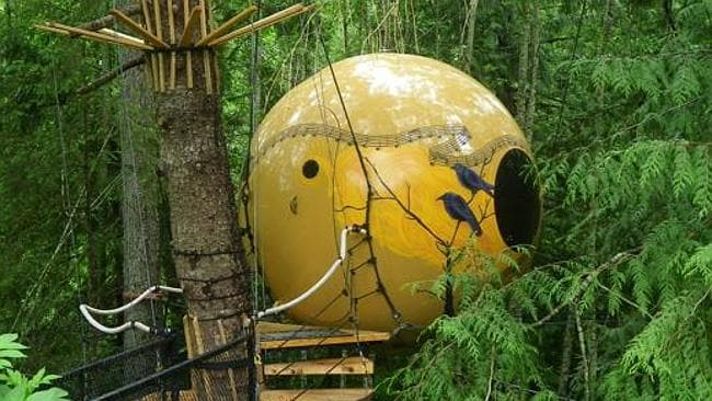 FREE Spirit Spheres. Spherical tree houses suspended from a web of ropes in a Canadian rainforest. Pictures: supplied www.unusualhotelsoftheworld.com