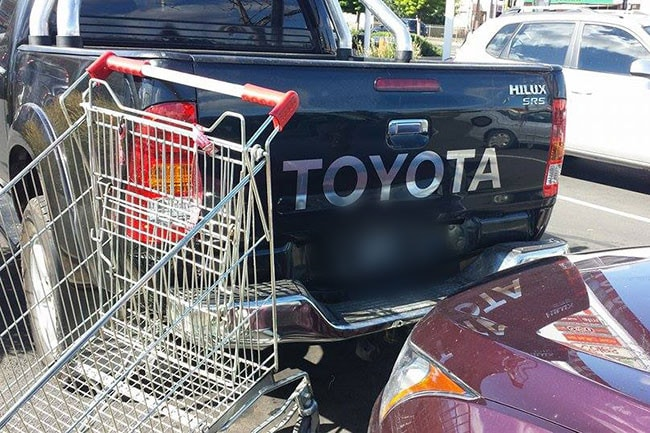 Shopping trolley? What shopping trolley? Oh, the one that I just sent into the back of the car behind me! Renee Cook couldn't believe it either, when she took this shot. Glad it wasn't Renee standing behind the Toyota Hilux at Northpark Shopping Centre.