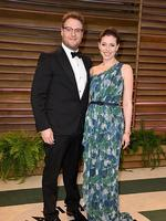 Actor Seth Rogan and wife Lauren Miller attend the 2014 Vanity Fair Oscar Party. Picture: Getty