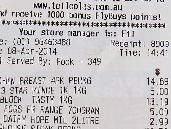 Coles supermarket Groceries. Receipt