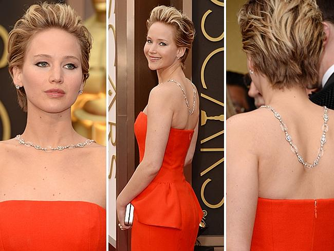 Jennifer Lawrence wearing Christian Dior on the red carpet at the Oscars 2014.