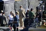 Actor Leonardo DiCaprio rehearsing his lines before getting into the car on set of the film 'The Great Gatsby' at White Bay Power Station, Rozelle, Sydney. Picture: Brad Hunter