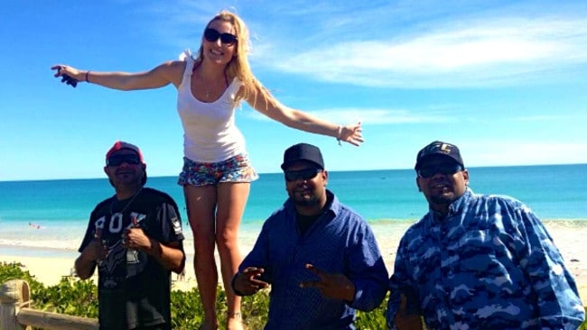 Emily Dewar on Cable Beach with Colin Humphries, and Derek and Merv Winmar.