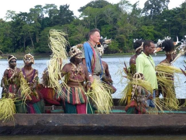 Explorer Benedict Allen pictured filming in Papua New Guinea, less than a year ago. Picture: BBC