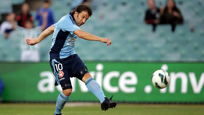Alessandro Del Piero fires a shot on goal, but it's saved by the Adelaide goalkeeper. Picture: Gregg Porteous