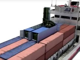 A screen capture of an animation detailing a Russian missile system designed to be concealed, launched and operated from standard shipping containers.
