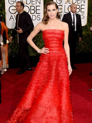 Statement red ... Allison Williams. Picture: Getty Images