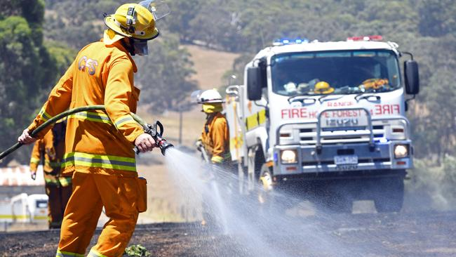 CFS put out a bushfire near a property on Pottery Road, The Range near McLaren Vale. Picture: Tom Huntley