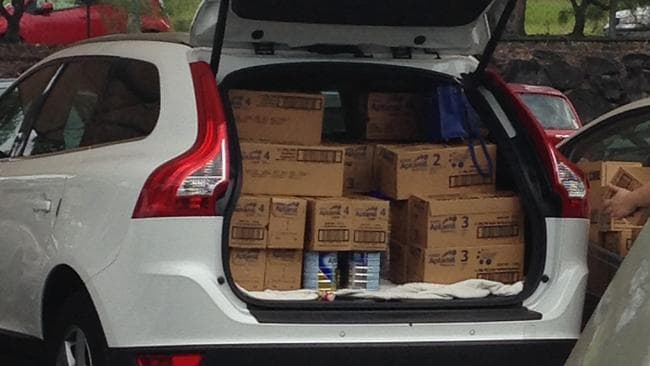 Nick Fritzkowski snapped this pic of a car boot full of formula on the Gold Coast.