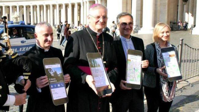Archbishop Leo Cushley at the app's launch. Photo: Instagram