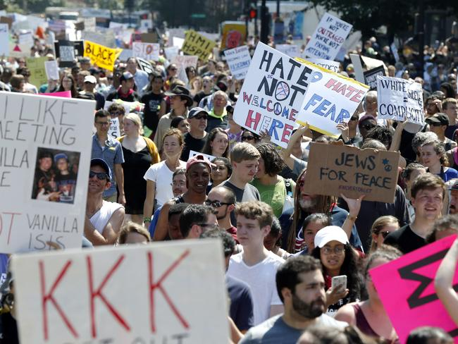 "Counterprotesters stand on the periphery of a ""Free Speech"" rally staged by conservative activists on Boston Common, Saturday, Aug. 19, 2017, in Boston. Picture: AP."