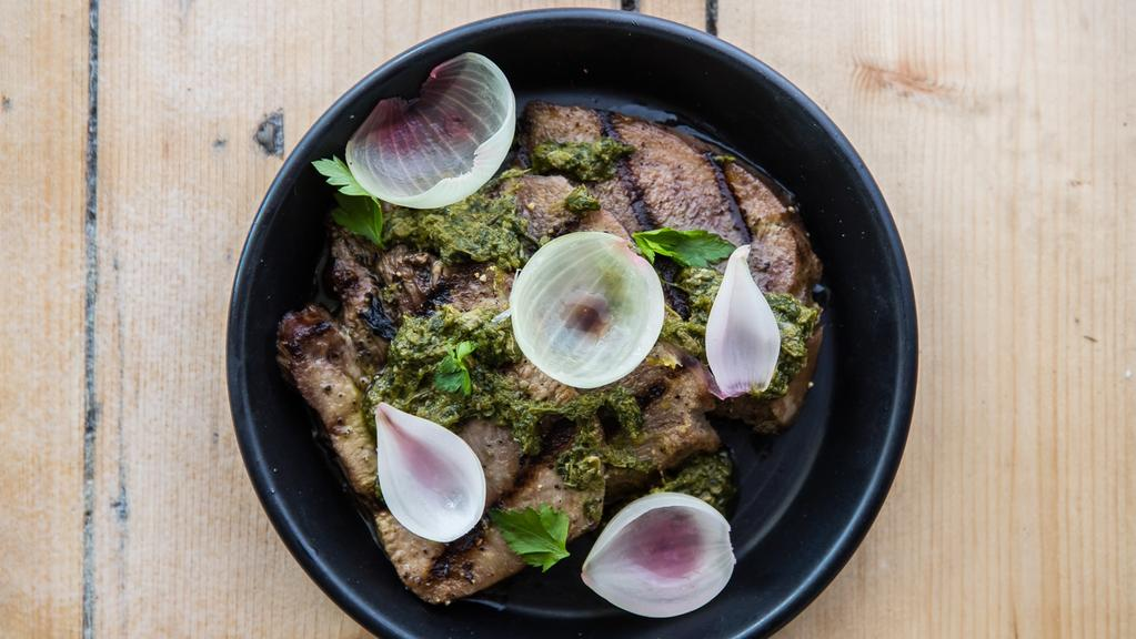 """Ox tongue, salsa verde and pickled shallots at  <a href=""""http://rockerbondi.com.au/"""" target=""""_blank"""">Rocker, North Bondi</a>. Picture: Nikki To"""