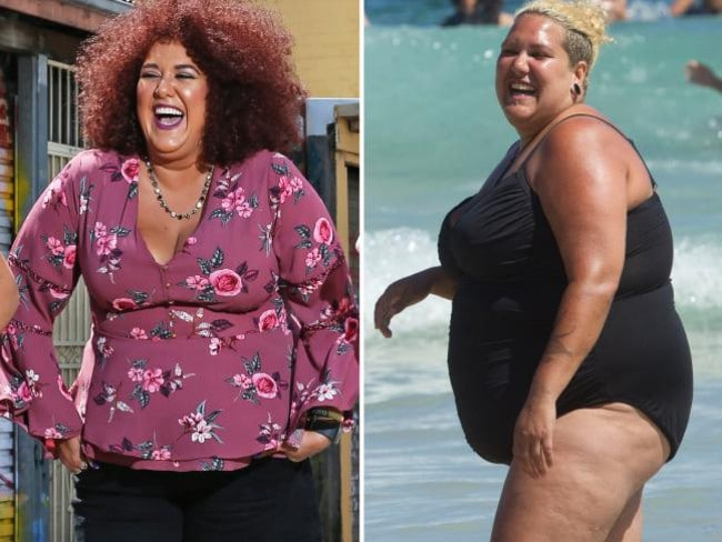 Casey Donovan, after embarking on her weight loss journey (left) and before (right).