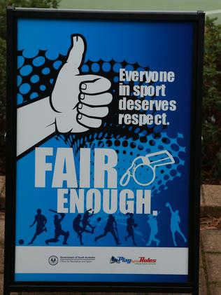 A Fair Enough campaign sign at ETSA Park.