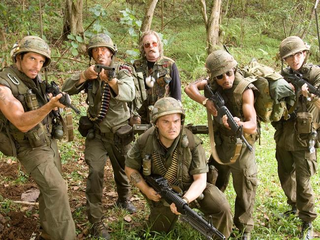 Ben Stiller, Robert Downey Jr, Nick Nolte, Jack Black, Brandon T. Jackson and Jay Baruchel in  <i>Tropic Thunder</i>.