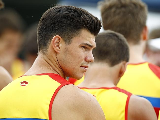Jaeger O'Meara joins Gold Coast Suns training at the Palm Beach parklands. Picture: Jerad Williams