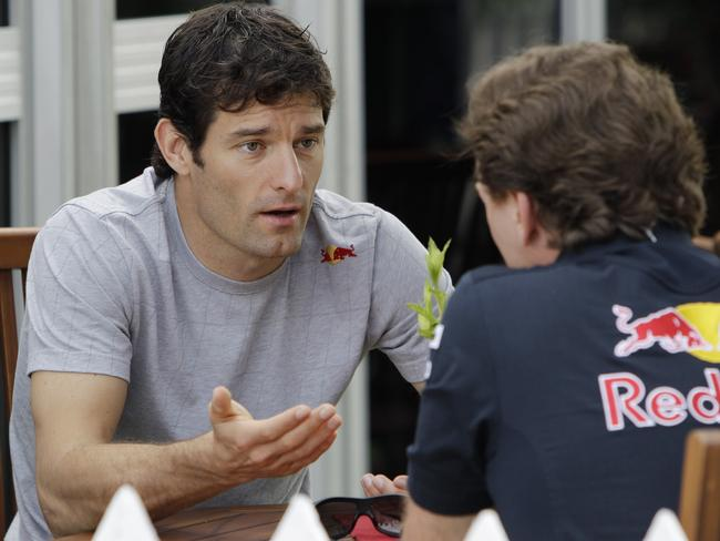 Bad blood ... Former Red Bull Formula One driver Mark Webber, left, has let his Twitter followers know what he thinks for former boss, Christian Horner.