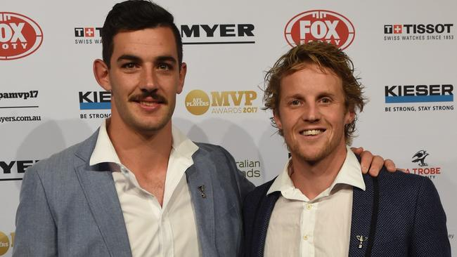 Taylor Walker and Rory Sloane at the AFLPA MVP awards. Picture: Tony Gough