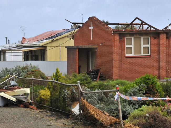 Storm damage in the town of Blyth, South Australia, after the wild weather damaged energy infrastructure, shutting down the entire electricity network and plunging the state into darkness. Picture: David Mariuz