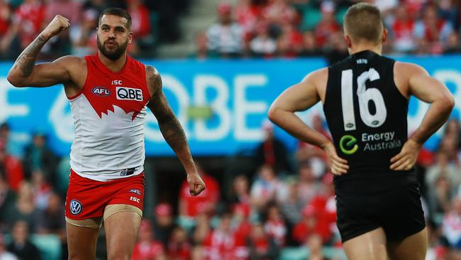 Lance Franklin kicked five goals to guide Sydney past Port Adelaide. Picture: Toby Zerna