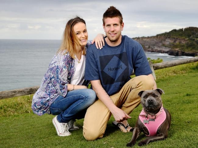 Carmen Waters and Kane Thomas with their dog Gypsy / Picture Craig Greenhill