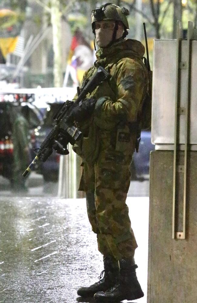 Vigilance ... Australian Defence Force and NSW Police in a counter-terrorist exercise at Martin Place, Sydney. Picture: Bill Hearne