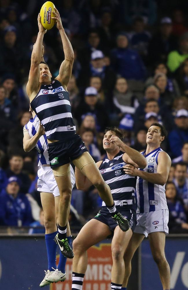 Harry Taylor takes a towering mark against the Roos.