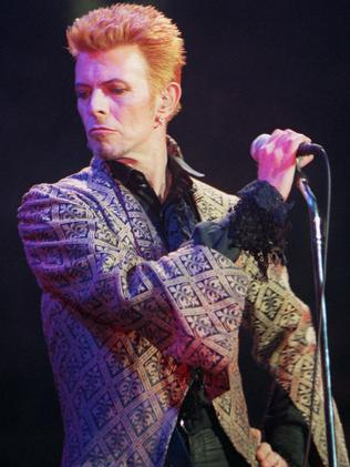 1997 ... David Bowie performs during a concert celebrating his 50th birthday. Picture: AP