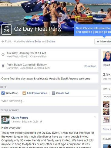 A screengrab of the 'Oz Day Float Party' Facebook page, which has now been removed. Picture: Facebook