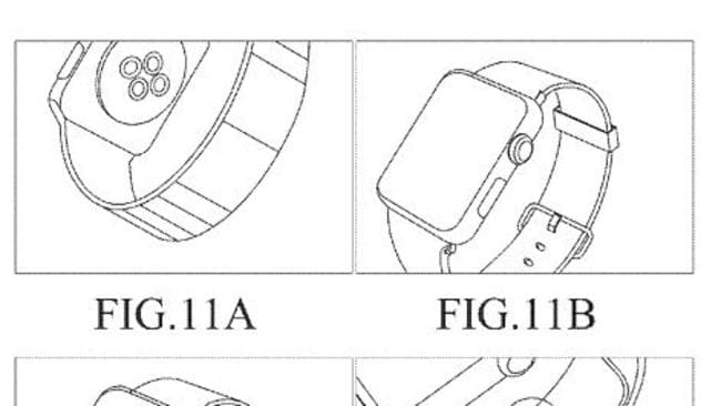 Illustrations in a Samsung patent application appear to be based on the Apple Watch. Source: US Patent application