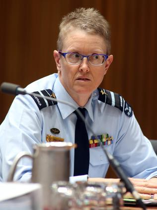 Air Marshal Tracy Smart was one of many senior personnel at a Senate estimates hearing. Picture: Gary Ramage