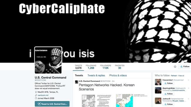 'We're here' ... the Twitter page was hacked with slogans such as 'I love you ISIS'.