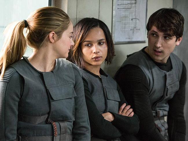 Keeping her identity a secret ... Shailene Woodley, Zoe Kravitz, and Ben Lloyd-Hughes in a scene from Divergent. Picture: Summit Entertainment, Jaap Buitendijk