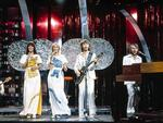 """Hectic television schedule: performing """"Mamma Mia"""" on The Best of ABBA – Bandstand Special. Australia, March 1976. -- Hardie Grant Books. """"ABBA: The Official Photo Book"""". Picture: Polar Music International. 1976."""