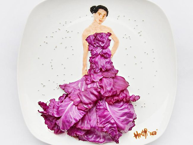 A red carpet stunner, created entirely with red cabbage. Picture: Hong Yi
