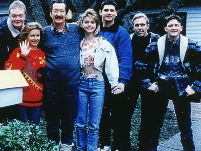 The Kerrigan and Petropoulous clans in the 1997 Australian film The Castle: (from left) Anthony Simcoe, Anne Tenney, Michael Caton, Sophie Lee, Eric Bana, Wayne Hope and Stephen Curry.