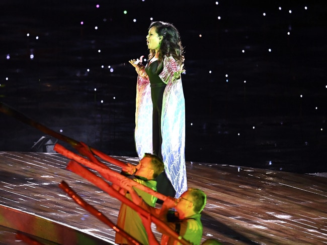 Christine Anu performs during the Opening Ceremony of the XXI Commonwealth Games. Photo: AAP / Tracey Nearmy