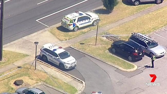 Emergency services at the scene of a tattoo parlour shooting in Hampton Park. Picture: Seven News