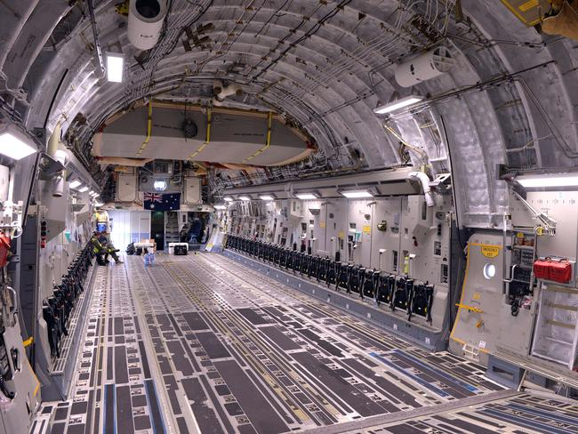 Vast ... the interior of the Globemaster C-17 can accommodate 36 stretchers if needed. Picture: Ben Stevens / i-Images