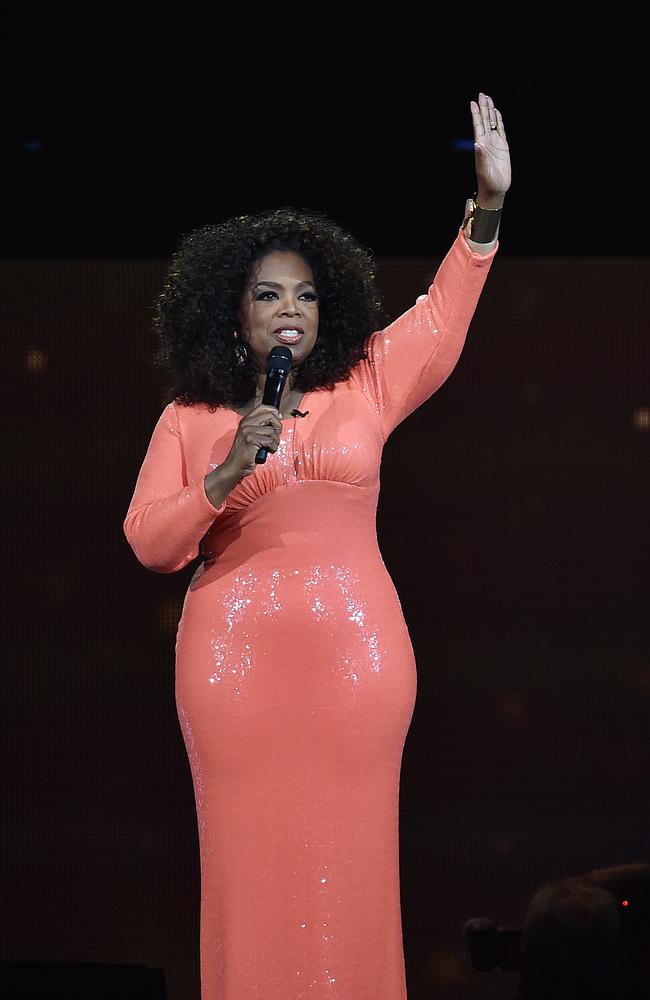 Oprah acknowledges the fans at Rod Laver Arena. Picture: Ellen Smith