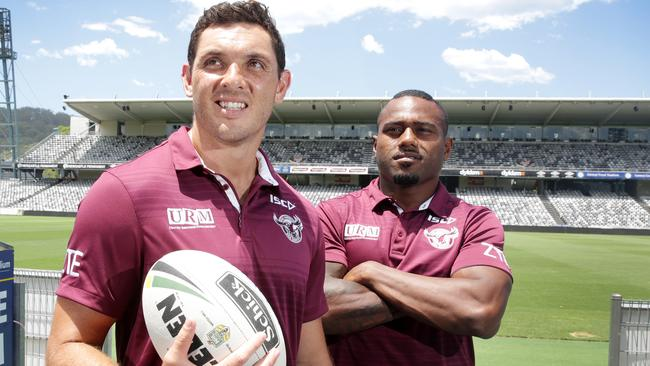 New arrivals Jonno Wright and Akuila Uate are pushing for roles in Manly's backline.