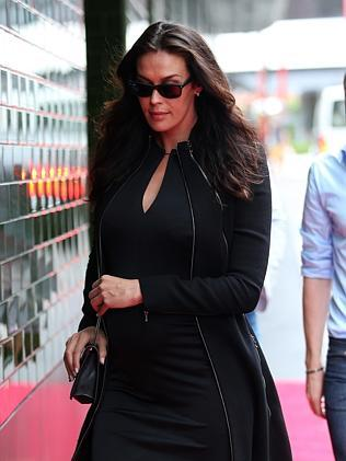 Megan Gale arrives at the Charlotte Dawson memorial. Picture: Richard Dobson