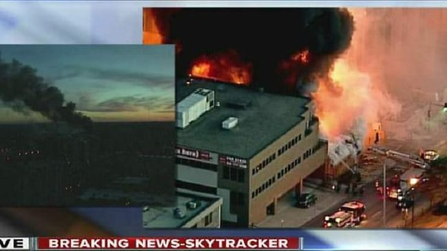 The large fire in down-town Kansas City where a car is believed to have struck a gas line. Picture: KSHB.com