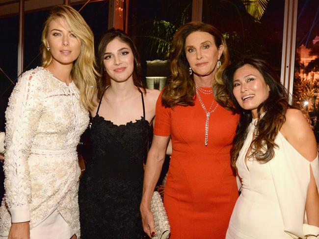 Maria Sharipova (left) and Caitlyn Jenner (second from right) with guests at the 2016 Vanity Fair Oscar Party. Picture: Kevin Mazur/VF16/WireImage