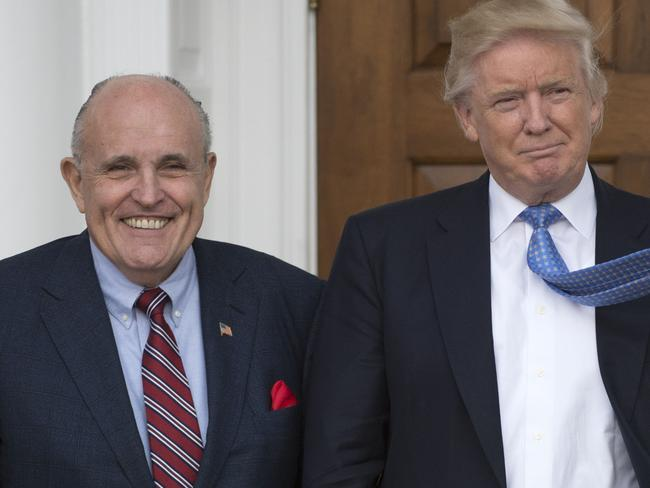 Donald Trump and his new lawyer Rudy Giuliani. Picture: AFP
